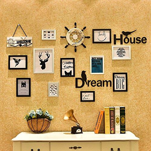 HJKY fotolijst Muur Set Multi frame langwerpige stille mediterrane fotomuur gebruikt voor woonkamer slaapkamers