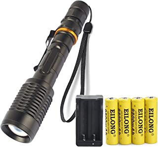 Super Bright 3000 Lumen 18650 Tactical Flashlight and 4PCS 3.7V 9800mAh Rechargeable Battery + Batteries Charger,Zoomable, Water Resistant, Handheld Light with 5 Modes