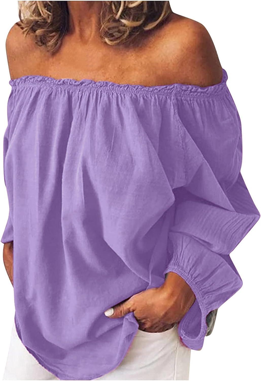 Women's Tops Summer Chiffon Off The Shoulder Tops Dot Bell Sleeves Casual Blouse Cute Ruffle Tunic Top