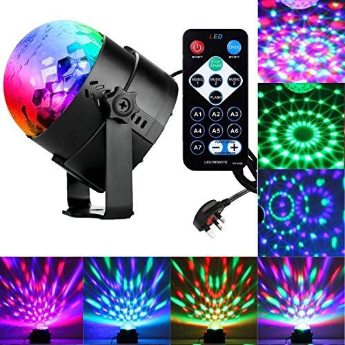 Luz de fiesta, 3w bola de discoteca luz DJ luces para fiestas, 7 colores activados por sonido de la lámpara de karaoke para niños regalo de cumpleaños etapa suministros de fiesta en casa