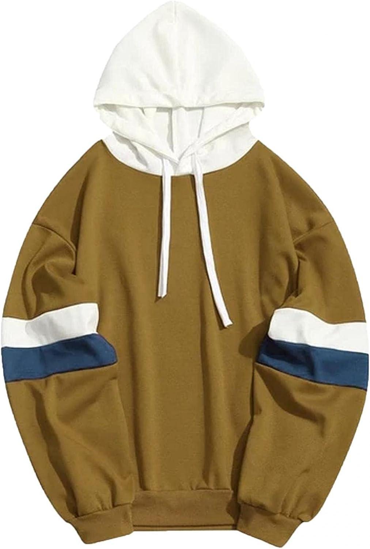 Aayomet Mens Hoodies Autumn Casual Color Splice Loose Blend Fleece Long Sleeve Drawstring Tops Hoodies