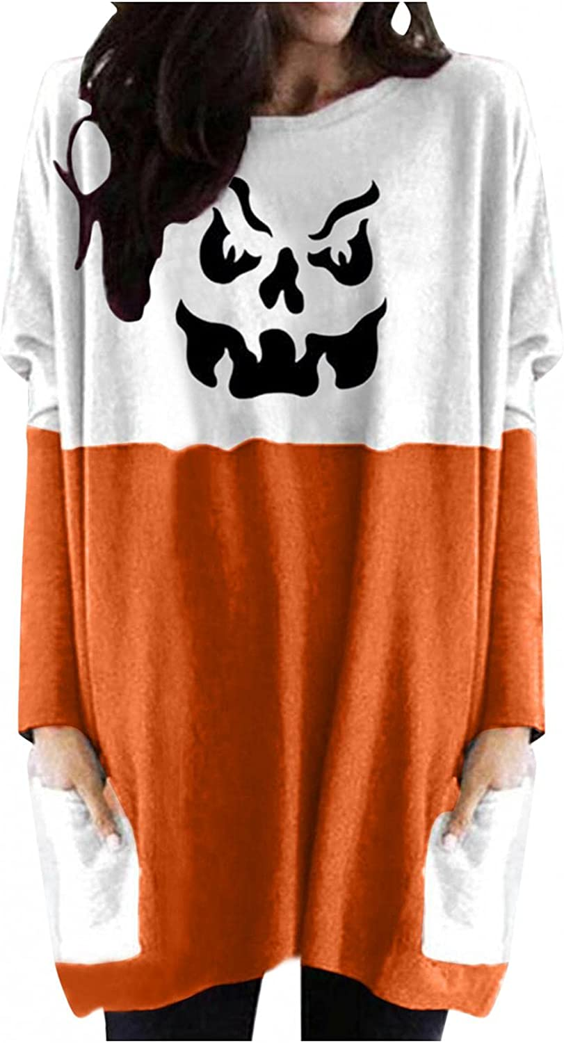 Jaqqra Halloween Sweatshirts for Women Casual Pullover with Pockets Skeleton Print Long Sleeve Tunic Shirts Blouse Tops