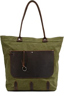 Multifunction Woman Canvas Leather Tote Shopping Bag with Model Number 6035