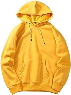 Howely Mens Loose Raglan Sleeve with Hood Solid Pullover Top Sweatshirt