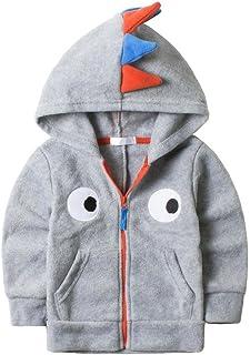 HUAER& Baby Boys' Girls Woolen Dinosaur Zip Front Jacket Hoodie Sweatshirt