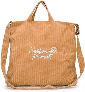 Supoggy Borsa a tracolla in velluto a coste di grande capacità/borsa di tela portatile di moda femminile/borsa a tracolla ...