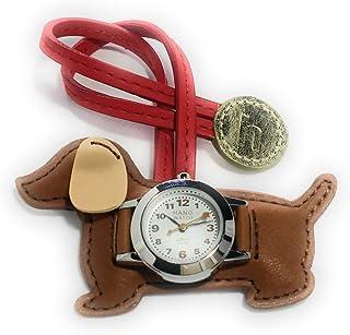 EP305 バックに付けるアクセサリー時計 ハングウォッチ ミニチュアダックス (ダークブラウン)