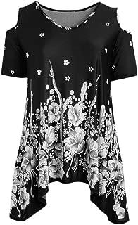 Fitfulvan Women's Strapless Shoulder Print Short Sleeve Blouse Top Irregular Hem Round Neck Swing Dress