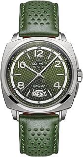 スイス製 Marvin 機械的ムーブメント ステンレスケース グリーンの真皮時計バンド グリーンの文字盤 男性 メンズ 腕時計