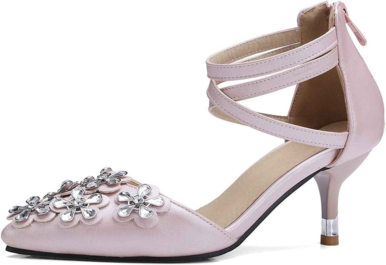 Women High Heel Summer Sandals Glitter Flower Summer shoes Woman Sexy Pointed Toe Kitten Heels Ladies Party Sandals