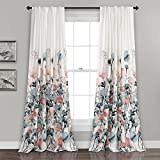 Lush Decor Zuri Flora Curtains Room Darkening Window Panel Set for Living, Dining, Bedroom (Pair), 84' x 52', Blue and Coral, 2 Count