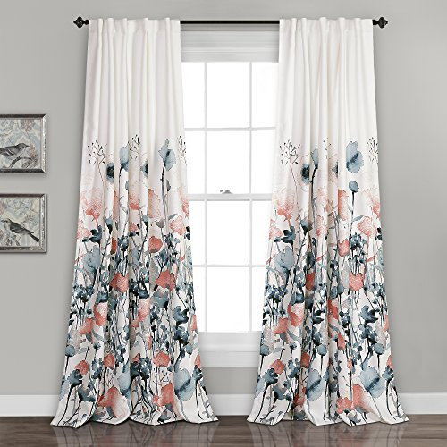 """Lush DÉCOR Zuri Flora Curtains Room Darkening Window Panel Set for Living, Dining, Bedroom (Pair), 84"""" x 52"""", Blue and Coral, 2 Count"""