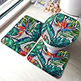 Moslion Palm Leaf Bath Mat Watercolor Tropical Jungle Forest Palm Tree Banana Leaves Bathroom Mat Set 3 Pieces Rug Toilet Seat Lid Cover Non Slip Mat Anti-Skid Pad Green