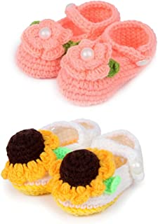 Socks Baby Girl Newborn Infant Hand Crochet Shoes Booties, Set of 2