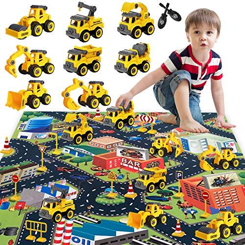 HapeeFun Montage Große LKW Spielzeug, DIY 8 * BAU Bagger Lastwagen Spielzeugautos, 80*70cm Stadtmatte & 12 * Straße Zeichen, Baustelle Spielzeug Fahrzeuge Geschenk für Kinder Jungen Mädchen 3 Jahren