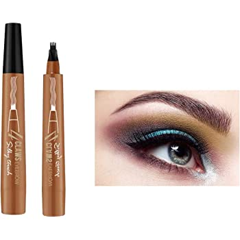 Onlyoily Eyebrow Pencil - Tattoo Eyebrow Pen with Fork Tip Long-lasting Waterproof Brow Gel and Smudgeproof Ink pen for Natural Hair-Like Defined Brows (01)