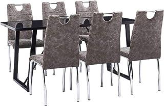 UnfadeMemory Muebles de Comedor Cocina,Conjunto de Mesa y Sillas de Comedor,Sillas de Cuero Sintético 45x60x94cm (Sillas Marrón y Mesa Negro, 7 Pzas,Mesa 160x80x75cm)
