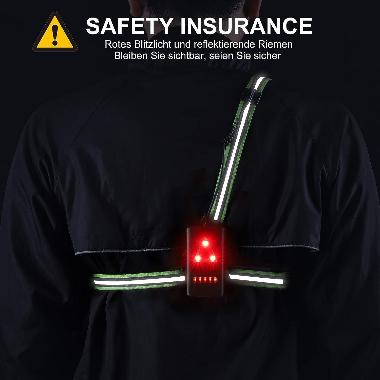Avec feu arri/ère Pour le camping Lampe de poche USB rechargeable Pour le jogging Sans danger pour les saisons sombres. la p/êche Rechargeable