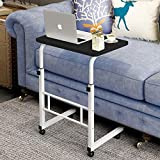 Laptop Cart 23.6' Mobile Table with Wheels, Movable Portable Notebook iPad Stand Bedside Desk Height Adjustable (23.6in, Black)
