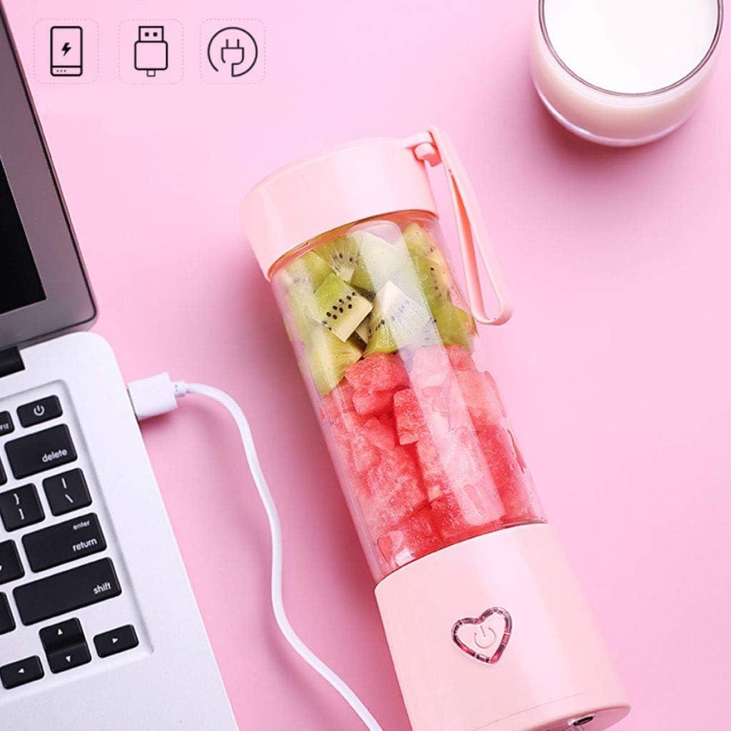 Protable Mini Exprimidor Eléctrico Vaso de una sola porción Licuadora Tamaño Personal Carga USB Rosa