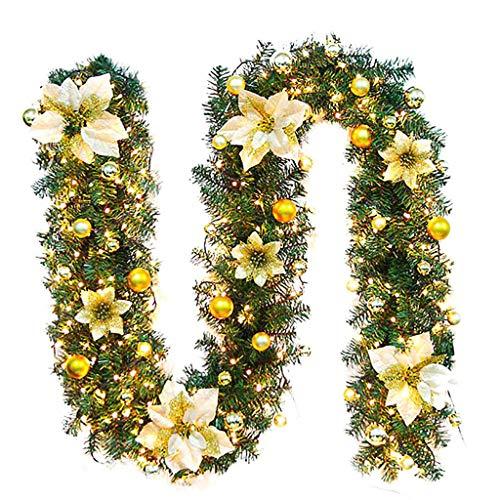 Cegduyi Guirnalda de luces de hadas de ratán, guirnalda de flores de 5 m, lámpara blanca cálida para dormitorio, decoración del hogar, funciona con pilas