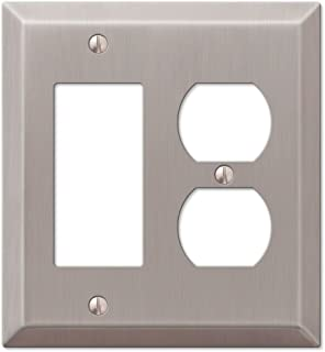 Traditional Design Wall Switch Plates and Outlet Covers, Brushed Nickel and Oil Rubbed Bronze Rocker and Duplex Combo 1WAL...