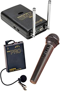 Azden WDM-PRO 2-Channel VHF Wireless Mic System, WR32-PRO VHF Receiver, WM-PRO Body-pack Transmitter with EX-503 Lapel Mic, WM/T-PRO Handheld Mic