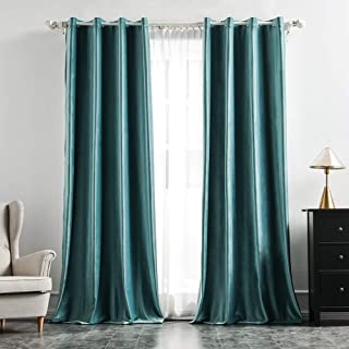 MIULEE 2 Panels Blackout Velvet Curtains Soild Soft Grommet Curtains Thermal Insulated Soundproof Room Darkening Curtains/...