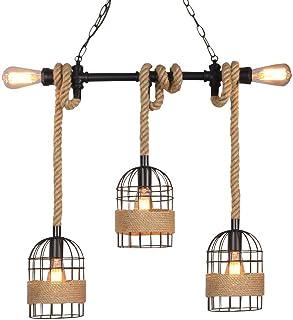 NIUYAO Lámpara Colgante Industrial Vintage Jaula Metal con Cuerda Cáñamo Lámparas de araña Iluminación Suspensa Loft Estilo 4 Portalámparas Lámpara Decorativo Interior
