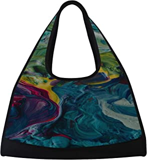 JGYJF Close-ups of Paints in Custom Tennis Racquet Bag Fitness Bag Tennis Racket Bag Men with Pockets Tennis Tote for Women Racquet Shoulder Bag for Sport Travel Shopping