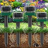 4 Piezas Ahuyentador de Topos Solar, Repelente de Ratones Solar Ultrasónico, IP65 Repelente de Topo, Repelente Ultrasónico para Animales, Repelente Solar para Jardines, Céspedes, Roedores, Topillos