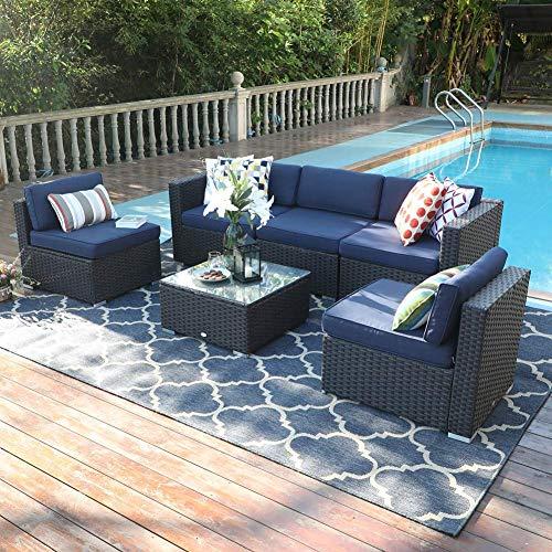 PHI VILLA Outdoor Rattan Sectional Sofa- Patio Wicker Furniture Set (6-Piece 2, Blue)