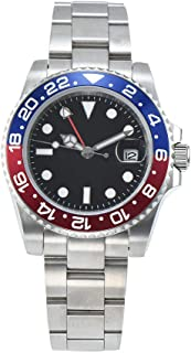 GMT Mens Watch Black sterile dial Blue/red Bezel 40mm Sapphire Glass Automatic Movement Steel case