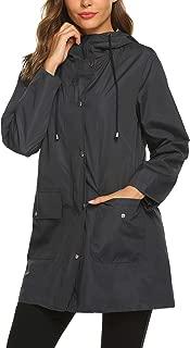 Rain Jacket Raincoat Women Waterproof Lightweight Hooded Rain Coat Active Outdoor Windbreaker Trench Coat S-XXL