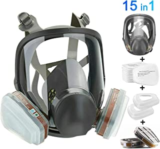 HAOX 15in1 Full Face Large Size Respirator,Full Face Wide Field of View,Widely Used in..