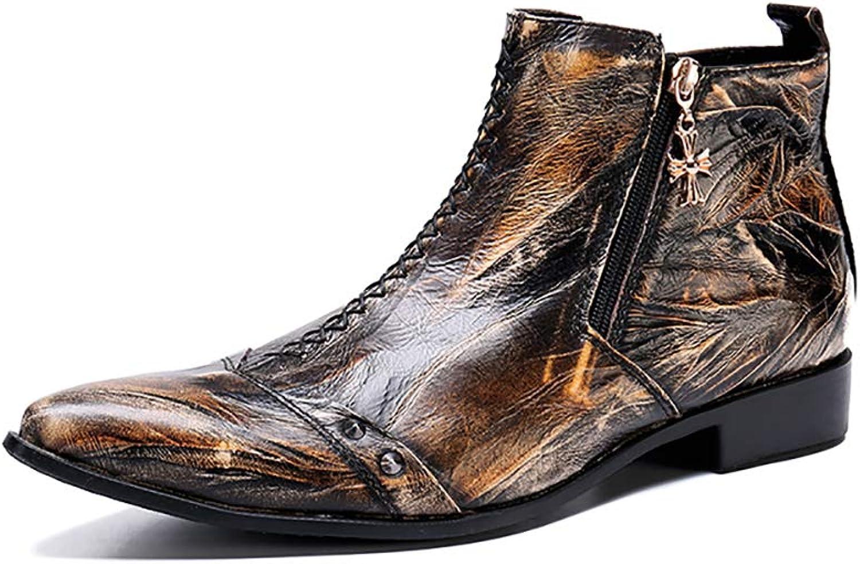 Herren Martin Stiefel Mode wies Lederschuhe Kurze personalisierte Western Cowboy Rock Snger für Formale, Hochzeit, lssig, Büro, Party, Gre 37 bis 46