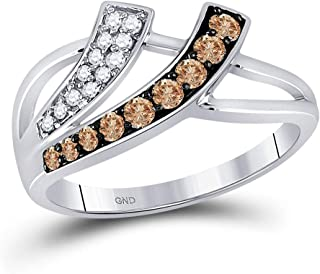 Jewels By Lux 10kt White Gold Womens Round Brown Diamond Band Ring 1/3 Cttw (I2-I3 clarity; Brown color) round shape brown diamond