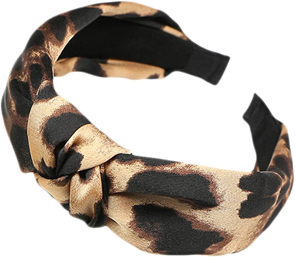 Dsxnklnd Women Girls Boho Vintage Large Leopard Pattern Headband Tie Knotted Wide Hair Hoop Retro Casual Headwear
