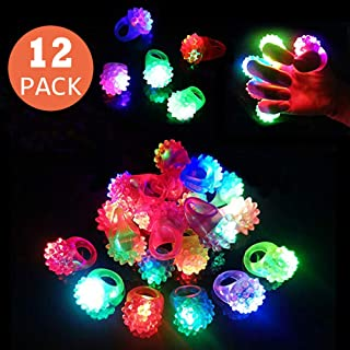 Birthday Party Favors for Kids Prizes Flashing 12 Pack LED Light Up Rings Toys Bulk Boys Girls Gift Blinky Glow in The Dark Party Supplies 7 Color Christmas party glow jewelry