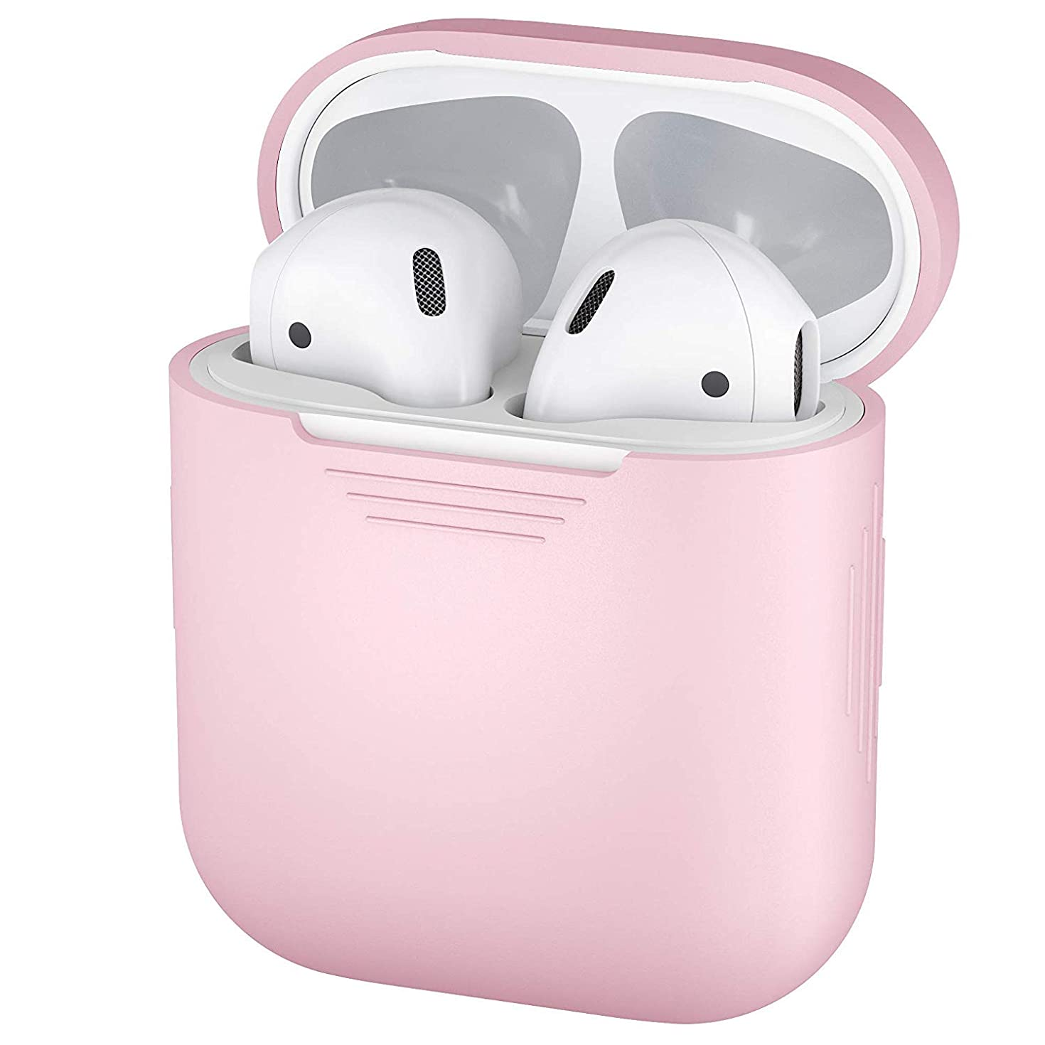 Airpods Case, LYZZO Protective Thicken Airpods Cover Soft Silicone Chargeable Headphone Case with Anti-Lost Carabiner for Apple Airpods Charging Case (Pretty in Pink)