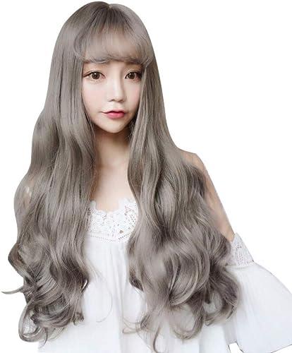 tomar hasta un 70% de descuento Peluca dama pelo largo y rizado golpes de aire mullido mullido mullido realista maíz caliente pelo largo onda lino gris  mejor moda