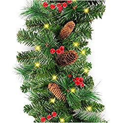 Best Choice Products 9ft Pre-Lit Cordless Artificial Christmas Garland with 50 LED Lights, Silver Bristles, Pine Cones, Berries, Green, farmhouse christmas decor ideas, farmhouse christmas dining room