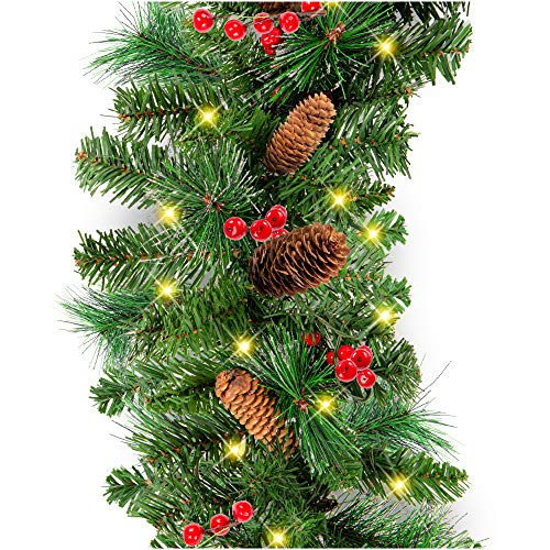 Best Choice Products 9ft Pre-Lit Cordless Artificial Christmas Garland with 50 LED Lights, Silver Bristles, Pine Cones, Berries, Green