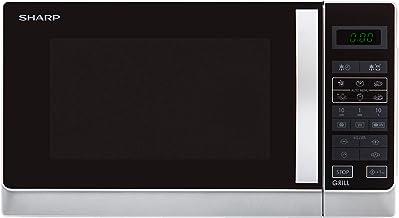 Sharp R-642INW Microondas Grill 20L, Control Tactíl, 800W, 800 W, 20 litros, Negro