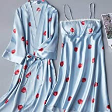 Dames Badjas Dames Kimono Badjas Nachthemd Jurk 2 Stuks Satijnen Nachtkleding Sexy Print Home Kleding