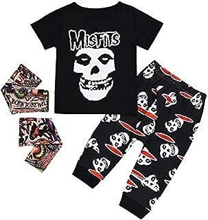 Kids Baby Boys Girls Cartoon Skull Bone Letter Long Sleeve Tops T-Shirt Pants Outfits