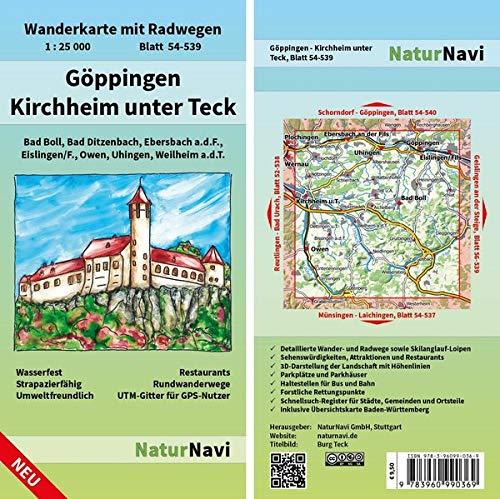 Göppingen - Kirchheim unter Teck: Wanderkarte mit Radwegen, Blatt 54-539, 1 : 25 000, Bad Boll, Bad Ditzenbach, Ebersbach a.d.F. Eislingen/F., Owen, ... (NaturNavi Wanderkarte mit Radwegen 1:25 000)