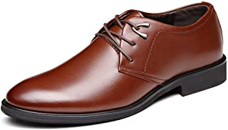 RongAi Chen Formal Business Oxford for Men Leisure Dress Shoes with Metal Decoration Lace up Genuine Leather Flat Heel Round Toe Anti-Slip Wear-Resistant (Color : Brown, Size : 9.5 UK)