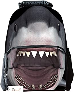 Ibeauti Unisex School Backpack, Large Capacity 3D Vivid Animal Shark Backpack Back to School Bag Backpack (Shark)