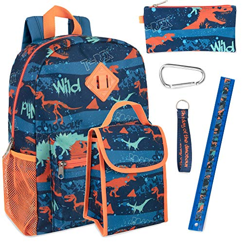 Boy's 6 in 1 Backpack Set With Lunch Bag, Pencil Case, Bottle, Keychain, Clip (Dinos)